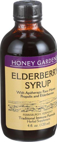 Honey Gardens Apiaries Elderberry Syrup - Apitherapy Raw Honey - Propolis and Elderberries - Cough - 4 oz