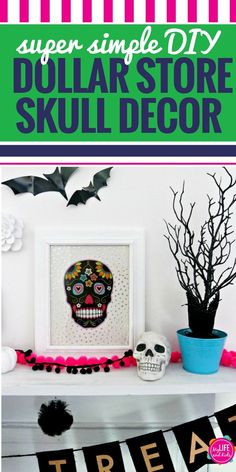 These Dollar Store DIY Halloween decor skulls are so simple to make and can have a huge impact on your spooky decorating. Whether you're going for a Day of the Dead theme, just like colorful skeletons or you're going full-on Halloween, this simple DIY cra Easy Fall Crafts, Halloween Crafts For Kids, Crafts For Kids To Make, Halloween Activities, Diy Halloween Decorations, Halloween Projects, Diy Projects, Halloween Skull, Halloween Design