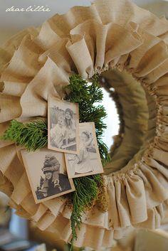 INSPIRATION: burlap ruffle wreath Burlap Crafts, Wreath Crafts, Diy Wreath, Burlap Wreath, Burlap Projects, Fabric Wreath, Wreath Ideas, Natural Christmas, Simple Christmas
