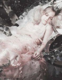 deprincessed: Dakota Fanning plays sleeping beauty in 'Cinderella In Sneakers' by Karl Lagerfeld for Vanity Fair January 2007