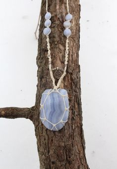 Ice Blue Necklace - Blue Lace Agate, Macrame Necklace, Yoga Jewelry, Yoga Necklace, Crystal Jewels, Bohemian Jewelry, Boho Necklace by FayAndFauna on Etsy https://www.etsy.com/listing/207307977/ice-blue-necklace-blue-lace-agate