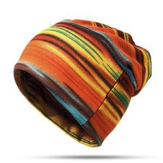 High-quality Women Cotton Stripe Beanie Casual Outdoor Windproof Hats For Both Cap And Scarf Use - NewChic Mobile.