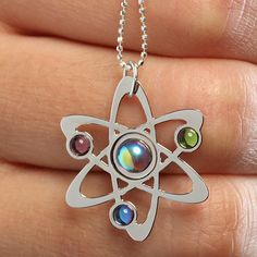 ThinkGeek.com...Bohr Model Atom Necklace. 16 inch sterling silver, diamond-cut, microball chain. The pendant is made with silver-plated brass sheet. The atom and orbiting electrons are holographic clear, peridot, amethyst, and holographic turquoise. $26