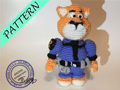 POLICEman tiger: Creative Amigurumi crochet pattern, knitted  police,cartoon police man,  pdf amigurumi
