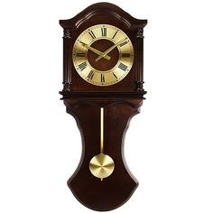 Bedford Clock Collection Wall Clock with Pendulum and Chimes