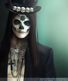 Witch doctor costume with a Dia de Los Muertos sugar skull makeup style. Maquillage Voodoo, Maquillage Sugar Skull, Halloween Makeup Looks, Halloween Fun, Halloween Costumes, Vintage Halloween, Halloween Skull Makeup, Skeleton Makeup, Holiday Costumes