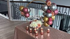"Hula hoop decoration, also called ""hula hoop wreath"", is an economical and original alternative for your parties. This garland is decorated with balloons, Birthday Balloon Decorations, Balloon Centerpieces, Balloon Garland, Bridal Shower Decorations, Diy Wedding Decorations, Decor Wedding, Diy Sweet 16 Decorations, 18th Birthday Party Ideas Decoration, Balloon Chandelier"
