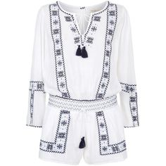 Denim & Supply Ralph Lauren Embroidered Peasant Playsuit found on Polyvore featuring jumpsuits, rompers, dresses, playsuits, macacão, long-sleeve rompers, long-sleeve romper, v neck romper, jump suit and v neck jumpsuit