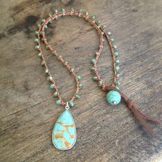 "Turquoise Sterling Silver Vermeil Pendant Crochet Necklace ""Beach Chic"" $50.00"
