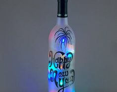 Happy New Year, wine bottle light, hand painted, black and white, multicolored lights