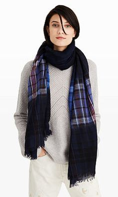 Women | Marcinet Navy Plaid Dip Scarf | Club Monaco