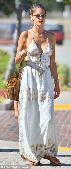 Alessandra Ambrosio sports plunging maxi for a day out with her boys