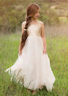 Cheap and Australia Pretty Sequined Straps Bodice Tulle Long Junior Bridesmaid Dresses from Dresses4Australia.com.au