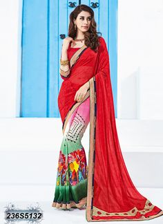 Trendy Multi Coloured Georgette Printed Saree