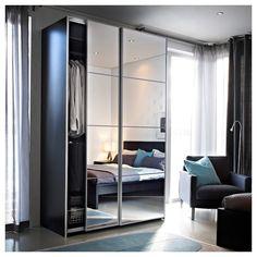 Bedroom Closet Doors Sliding, Mirrored Wardrobe Doors, Folding Closet Doors, Mirror Closet Doors, Ikea Mirror, Mirror Door, Closet Bedroom, Sliding Doors, Mirror Glass