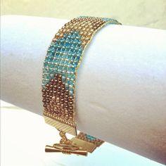 Blue Chevron Gold Tone Toggle Beaded Bracelet by wowpow on Etsy, $35.00
