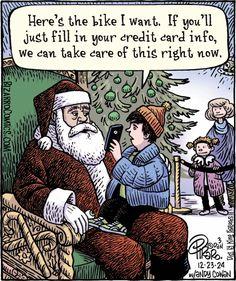 Piraro, Dan Santa Dealing w Century (Bizarro Comics) Funny Christmas Cartoons, Christmas Comics, Christmas Jokes, Funny Cartoons, Funny Comics, Funny Jokes, Hilarious, Merry Christmas, Xmas