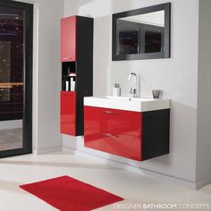 red Bathroom Decor This modern bathroom has a vanity that features a built-in sink, and a white freestanding bathtub, thats positioned in front of the large floor-to-ceiling window. bathroom decor red red Bathroom Decor This Red Bathroom Accessories, Black Bathroom Decor, Bathroom Red, Modern Bathroom Design, Bathroom Interior Design, Bathroom Storage, Small Bathroom, Red Bathrooms, Bathrooms Online