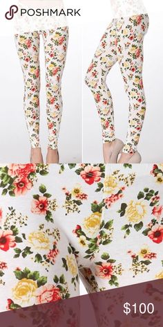 *COMING SOON* White Floral Printed Leggings White Floral printed leggings. Very stretchy and comfortable material. Material: 95% rayon, 5% spandex. Price: $45   Like to be notified when arrived! Twilight Gypsy Collective Pants Leggings