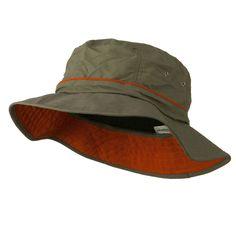 b9c23577 Big Size Adjustable Draw Cord Talson UV Bucket Hat - Olive Orange Color,  Hats For
