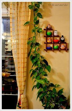Indian home decor, indian wall decor, diy home decor, hanging lamps, living Ethnic Home Decor, Asian Home Decor, Diy Home Decor, Indian Home Interior, Indian Interiors, Green Shelves, Bedroom Art, Plant Decor, Living Room Decor
