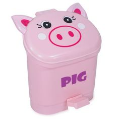 Pink Pig Small Trash Can Globally Cute