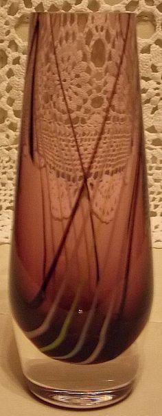 Art Glass Caithness vase signed. Retro vertical spiral line pattern. Sold. @ http://maxartdeco.binary-synergy.com/