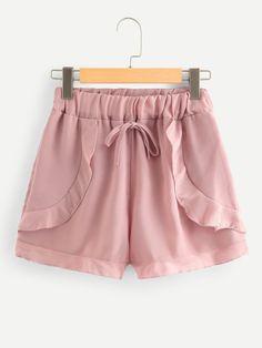 Solid Frill Trim Drawstring Waist Shorts