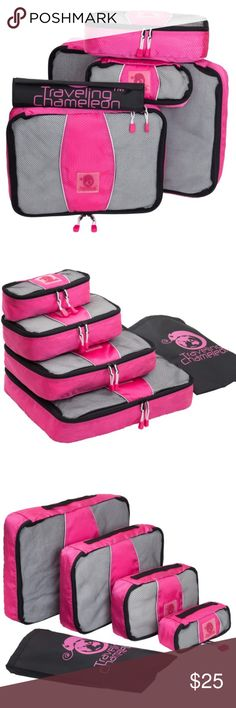 """5 Piece Quality Travel Packing Cubes Save space packing your luggage! 5 Pieces. (1) 12""""x16"""" Clear Zip Document Bag w/Traveling Chameleon logo + 4 Cubes: XL, L, M, S. Made from the highest quality honeycomb polyester, which is a lightweight and strong material. Premium YKK Zippers. Pink color is a bit darker than the stock photos. Plz see 5th photo. Very nice! Enjoy! Plz ask Q's ~ I love to have happy buyers! :) *Clear document zip bag is included with this set instead of black shoe bag shown…"""