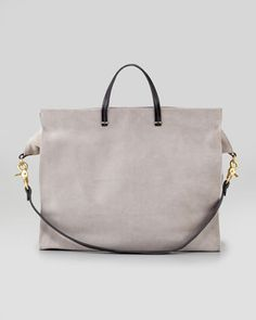 Suede Simple Tote Bag, Grey by Clare Vivier at Bergdorf Goodman.