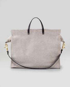 Suede Simple Tote Bag, Grey by Clare Vivier