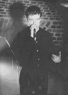 """This night 32 years ago Ian Curtis of Joy Division died. In the early hours of 18 May 1980, Ian Curtis hanged himself in the kitchen of his house in Macclesfield. He had just viewed the film """"Stroszek"""" of Werner Herzog  and listened to Iggy Pop's """"The Idiot"""". May you rest in peace, Ian. You are unforgotten. This picture was taken by Reinhard Völkel during the Cologne concert 01-15-1980 nearly exactly four months before Ian died.   #IanCurtis #Curtis #JoyDivision"""