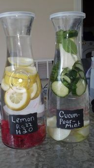 DIY flavored waters using Pier 1 Chalk Note Carafes