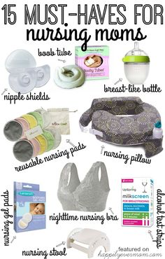 15 Must-Haves for New Moms who want to nurse or who have started to breastfeed their baby. If you're struggling with breastfeeding, these are all lifesavers! Every single one is something real Moms have used to help relieve pain during nursing and help them through breastfeeding their baby in the first few months. These are essential!