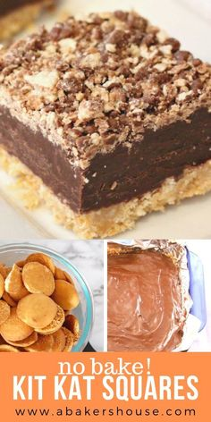 No bake Kit Kat Squares! There is a wafer cookie crust on the bottom, layered next with a chocolate and condensed milk, and topped with a kit kat crumbs. No baking required-- just the microwave and… Candy Recipes, Sweet Recipes, Baking Recipes, Cookie Recipes, Dessert Recipes, Bar Recipes, Cookie Desserts, No Bake Desserts, Easy Desserts
