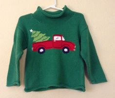 Boys Green Knit Sweater Pick-Up Truck Chistmas tree 2T 3T Happy Holidays Ugly  | eBay