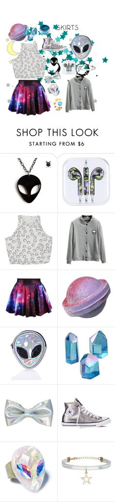 """Far Out"" by angie-giroux ❤ liked on Polyvore featuring cutekawaii, Chicnova Fashion, Disturbia, Converse, Topshop, Lime Crime, under50 and skirtunder50"