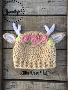 Crochet Girls deer hat, deer horns, baby photo prop, flower crown, velvet acorn, pink flower, deer hat, deer ears, light brown/beige and white deer, woodland animals,