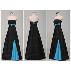 Corset Wedding Dresses Long Strapless Prom Dresses Empire Black Blue... (98 AUD) ❤ liked on Polyvore featuring dresses, gowns, long black evening gowns, long prom dresses, black corset, blue bridesmaid dresses and long black dress