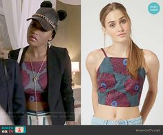 Zayday's floral crop top on Scream Queens.  Outfit Details: http://wornontv.net/52212/ #ScreamQueens