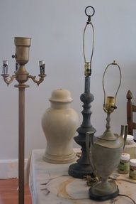 Transform those old lamps with Annie Sloan chalk paint and wax. These color combos give a zinc like look. Wow!  Image Source