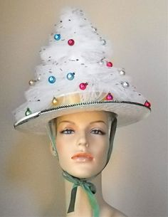 """Vintage Handmade Christmas Tree Party Hat. $22.00, via Etsy. Tacky Sweater Party!! Must have for xmas party this year!  Needing ideas for a FUN Ugly Christmas Sweater Party check out """"The How to Party In An Ugly Christmas Sweater"""" at Amazon.com"""