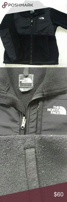 Womens small North Face fleece Good.used condition.  Black fleece with white logo on front and back.  No tears or rips, but fleece does have signs of use (see third picture).  Comes from smoke free pet friendly home. North Face Jackets & Coats