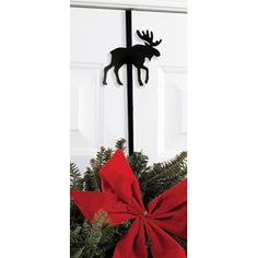 """Our Wrought Iron Over the Door Wreath Hangers add the perfect rustic touch to your holiday decor with this 13"""" long wreath holder featuring a Moose silhouette. http://ceardai.com/products/moose-wrought-iron-wreath-hanger"""