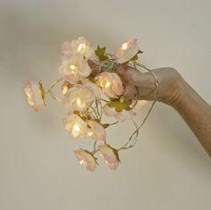 Rose Fairy Lights, Pink Tipped Ivory White Shabby Flower String Light Garland Bridal Shower Nursery Decor