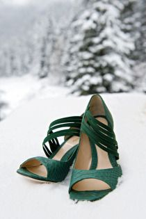 Lake Louise Winter Wedding from Orange Girl Photographs + Lynn Fletcher Weddings Dream Shoes, Crazy Shoes, On Shoes, Me Too Shoes, Shoes Style, Shoes Heels, Emerald Green Shoes, Emerald Green Weddings, Green Heels