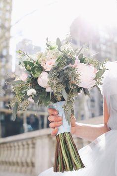 Blush and Powder Blue Wedding Bouquet by Designs by Ahn | Photography by OLLI STUDIO