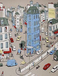 Signed-French-Comic-Serigraph-Francois-AVRIL-Bonne-Nouvelle-Paris-Sentier