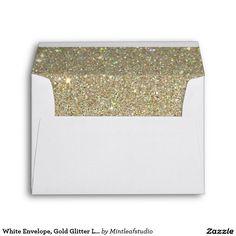 White Envelope, Gold Glitter Lined