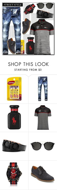 """""""Street Style Looks For Men This Spring/Summer"""" by helenaymangual ❤ liked on Polyvore featuring Carmex, Ralph Lauren, Salvatore Ferragamo, Carrera, Gucci, G.H. Bass & Co., men's fashion and menswear"""